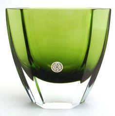 Green Cased 6 Sided Art Glass Vase Made in Sweden Vintage   eBay SOLD