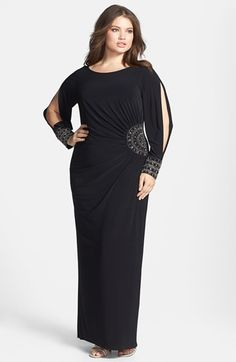 Xscape Embellished Stretch Jersey Long Dress (Plus Size) available at bridesmaid dress love it Big Girl Fashion, Curvy Fashion, Plus Size Fashion, Plus Size Dresses, Plus Size Outfits, Plus Size Formal, Vestidos Plus Size, Modelos Plus Size, Looks Plus Size