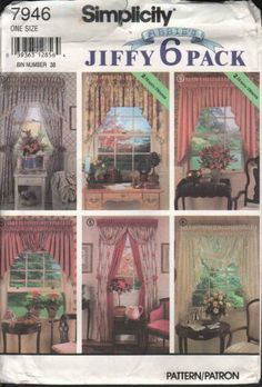 Featured in this listing is an out of print Simplicity 7946 Abbie's Jiffy 6 Pack Collection window valances, swags & festoons pattern. Six design options are included. Pattern is still factory folded and complete with instructions Material and supply information is listed in pattern instructions, so they are not visible on the back of the pattern.