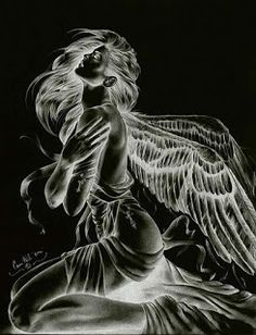 Angel or fairy animated gif Dark Fantasy Art, Ange Demon, Demon Art, Angel Artwork, Angel Drawing, Angel And Devil, Angel Pictures, Angel Images, Gif Pictures