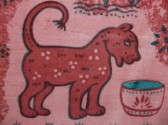 """Vintage Art Tile RED CAT Hand Painted Calico 6"""" #redcat"""