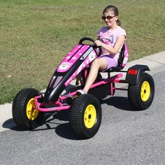 Daisy pink pedal car Made in the USA by Prime Karts. Finally a pedal kart for girls! The Daisy pedal car has a 6 position adjustable seat that will fit any girl 5 years and up. Not only is the Daisy pedal car extremely fun to ride but it's great exercise as well. Summer is upon us and there is no better way to enjoy the outdoors than with a Made in the USA pedal car by Prime Karts.