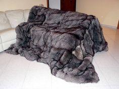 giant sized silver fox fur blanket