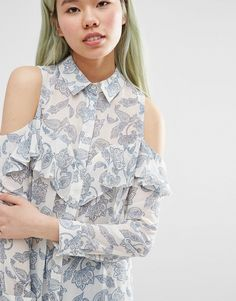 Image 3 of ASOS Cold Shoulder Ruffle Detail Blouse in Paisley