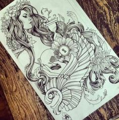 im pretty sure i just found what i want my ocean inspired tattoo to be. this looks nd feels like it is perfect just add some color nd perfect