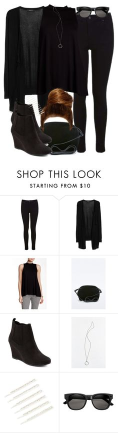 """""""Lydia Inspired All Black Outfit"""" by veterization ❤ liked on Polyvore featuring Miss Selfridge, MANGO, Bobeau and Merona"""