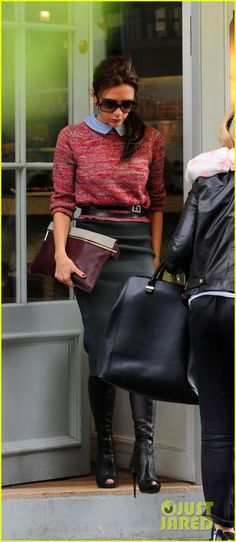 Victoria Beckham: Love the belted sweater, pencil skirt