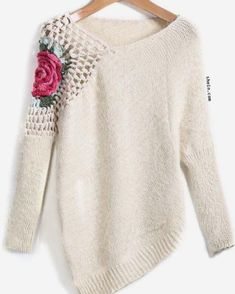 Round Neck Floral Crochet Loose Sweater 2017 Fall Women New Sweaters Embroidery Asymmetrical Pullover Pull Crochet, Knit Crochet, Crochet Jumper, Crochet Sweaters, Look Fashion, Autumn Fashion, Fashion Spring, Fast Fashion, Fashion Moda