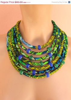 SALE NOW Ethnic jewelry, african fabric necklace, green and blue necklace - African wax print, Tribal necklace, statement necklace