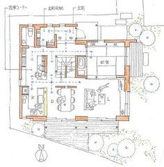 ご実家の庭先を借りて新築した、4人家族の家です。サニタリースペースを含め2階をプライベートゾーンとし、1階は、LDK・和室と言った、パブリックゾーンになっ... Hotel Floor Plan, House Floor Plans, Craftsman Floor Plans, Hotel Room Design, Interior Garden, Japanese House, House Layouts, Architecture Plan, Building Plans