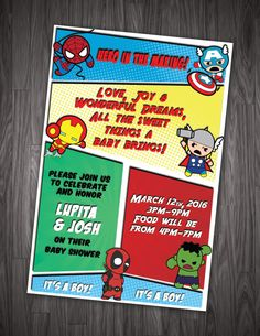Want to make your baby shower different? Baby Marvel Heroes is the way to go! Digital printable invitation, 5x7 or 4x6 customized for your event! Print at home or send to a professional printer. ** Can easily be translated into Spanish, just let us know in notes when purchased. How to