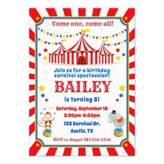 Circus birthday invitation Carnival invite Carnival Birthday Invitations, Carnival Themed Party, Carnival Birthday Parties, Birthday Party Themes, Circus Party, Circus Cakes, Circus Wedding, Party Supplies, Invite