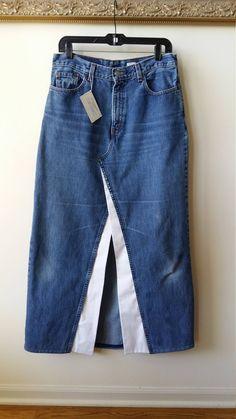 Reconstructed LEVI Denim Maxi Skirt with White Trim and Front Slit, Women's Size 12 - ideas para ropa - Jupe Refaçonner Jean, Jean Diy, Denim Maxi, Denim Skirt Outfits, Casual Outfits, Denim Skirts, Jeans Refashion, Diy Jeans, Mode Jeans