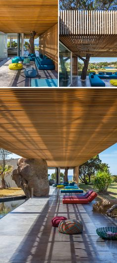 Joining the main living areas of this villa with the bedrooms is a long wood covered pergola. Sections of the pergola have cut-outs that surround trees and allow them to keep growing.