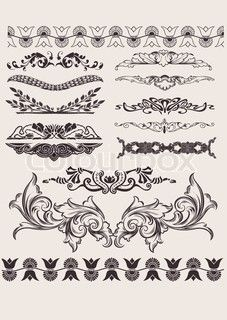Vintage French Stencils | French, stencil, baroque stock vector