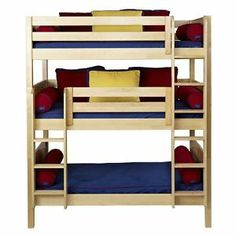 Maxtrix Twin Or Full Triple Bunk Bed With Straight Ladder