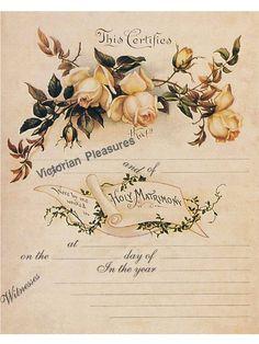 Vintage Labels, Vintage Cards, Vintage Postcards, Vintage Images, Wedding Certificate, Marriage Certificate, Wedding Bells Clip Art, Decoupage Paper, Yellow Roses