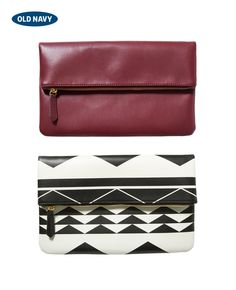 Every outfit needs a bold bag. Adding one of these geometric or berry-colored fold-over clutches will do the trick.