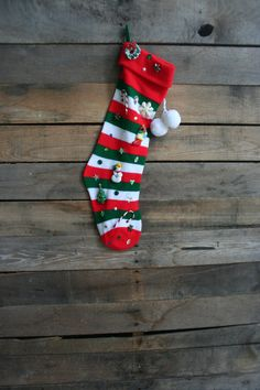 Vintage White Green & Red Striped Embelished Knit by vintapod