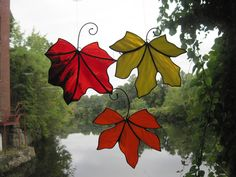 Stained Glass Falling Autumn Leaves - Set of 3. $135.00, via Etsy.