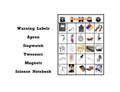 This is the perfect way to introduce or review basic science tools to students. Start with the 29 slide powerpoint, review with the bingo game (22 different card versions) and assess with the quiz. Includes kid friendly definitions/illustrations of apron, safety goggles, gloves, safety labels, fire extinguisher, fire blanket, calculator, beaker, graduated cyclinder, eye dropper, hand lens, microscope, proscope, telescope, compass, camera, thermometer, balance, tweezers etc.