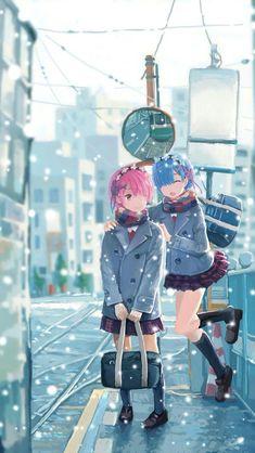 Re zero wallpaper Kawaii Anime Girl, Anime Art Girl, Manga Girl, Manga Anime, All Anime, Re Zero Wallpaper, Anime Sisters, Ram And Rem, Cute Twins