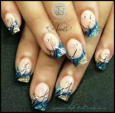 Luminous Nails: Marbleized Pink, Purple & Black Nails & Shimmery Blue & Gold Nails...