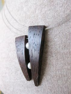 Exotic wood and natural river pearl by NatureArtJewellery on Etsy, $49.00