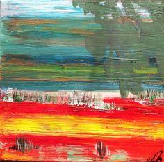 Landschaft ohne Namen ( am Meer) Öl auf Leinwand ( Originalbild) 30 x 30 cm | KunstiX
