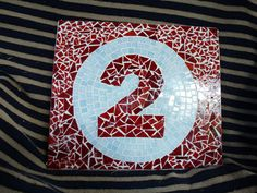 Mosaic house number made and designed by Louise