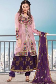 Purple Net Salwar Kameez