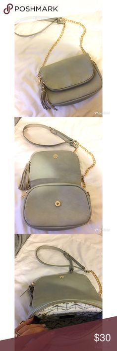 """Moda Luxe 🌸 Nola, Crossbag Gorgeous Gray Crossbag.  Love that is goes with everything you wear! Originally Purchased at Nordstrom  🌸Size: 6""""Tall & 9.5 Across  🌸Material: Faux leather with genuine leather suede tassel *Closure: Snap *Exterior Details: Front Pocket and tassel *Inside Features: 1 zipper pocket and 1 slip pocket *Handle Drop: None *Shoulder Strap Drop: 19""""- 22"""" Nordstrom Bags Crossbody Bags"""
