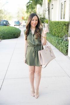 Olive dress perfect for end of winter and spring with blush accessories