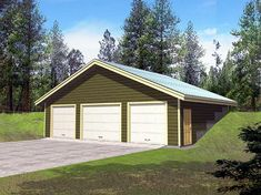 Earth Sheltered S Traditional Garage Plan 86886