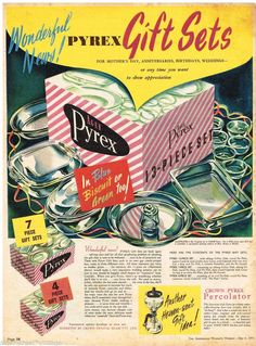 AGEE PYREX GIFT SETS AD 1953 Original Ad