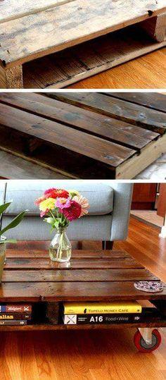 Sleek Wooden Plank Coffee Table Cum Book Shelf