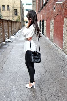 classic..white blouse and waxed skinny