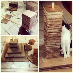 Cats Toys Ideas - Homemade cat tower made from cardboard boxes. - Ok, the one thing I always have around here is an abundance of cardboard boxes - shed LOVE to rub against the edges of these pieces! - Ideal toys for small cats