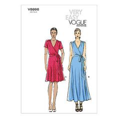 Vogue V8896 Sewing Pattern - Misses Wrap Dress  - Close Fit Bia Bodice Very Easy