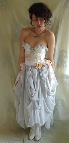 Trella Whimsical Bustier Wedding Dress or Formal Gown... Size S/M... eco friendly rococo fairy boho shabby chic alternative free people.  via Etsy.