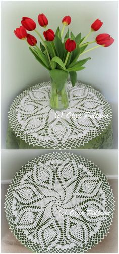 Swirl and Pineapples Doily, FREE Crochet Pattern by Olga Poltava, big doily or table topper,  Skill Level: Advanced Measurements: about 19 inches across Materials: Steel hook 1.5 mm, Crochet cotton thread size 10, about 360 yards