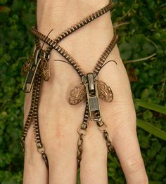 Steampunk Moth Zip-On Bracelet Handflower by PeteAndVeronicas