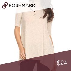 Gilli 1/2 Sleeve Top Cream colored half sleeve top with bottom side slits. gilli Tops Tees - Short Sleeve