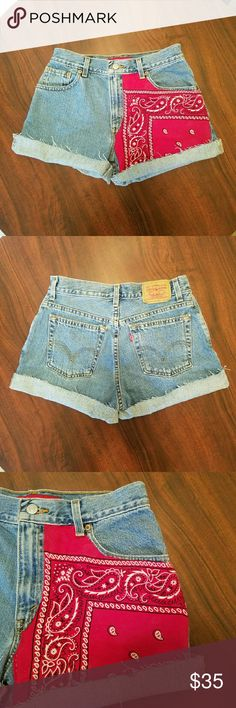 Vintage handmade Levi's cutoffs One of a kind levi cutoffs with custom vintage made in the USA red bandana patch. PERFECT for the fourth of July! You've got your red white and blue covered.  Tag says 8, more like a size 2/26in waist. Levi's Shorts Jean Shorts