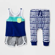 Baby Boys' Tank Top, Joggers and Shorts Set - Cat & Jack Blue 0-3M