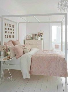 DIY Pink + White Bedroom Ideas! The balance between White and Pink is nice!