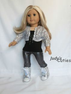 Sequin Bolero-Top- Leggings-Sneaker Boots Doll Clothes fit American Girl Only