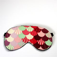 3 Layer Quilted Eye Mask - Paris Fans in Pinks, Purples & Mint - monkey & bee