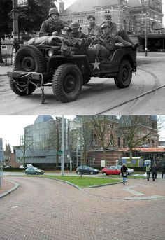 Then & Now from the Battle of Arnhem in 1944 during Market Garden Operation Market Garden, World History, Military History, Then And Now, World War Two, Troops, Wwii, Abandoned, Battle