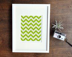 Chevron Art Print  Green Yellow  5x7 8x10 by RetroMenagerie, $16.00